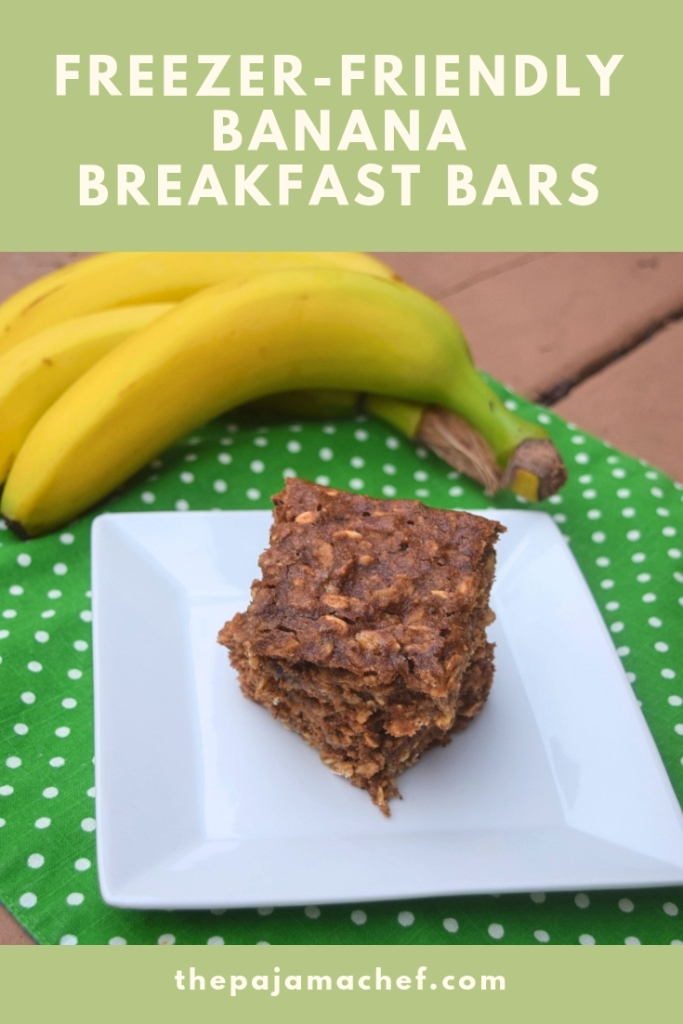 These simple freezer-friendly banana breakfast bars come together in a snap and taste SO good! They're a great breakfast or snack that everyone will love. #FantasticalFoodFight via thepajamachef.com